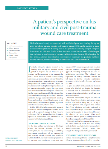 A patients perspective on his military and civil post-trauma Wound Care treatment